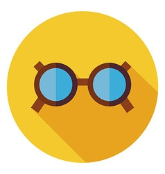 Flat Accessory Glasses Circle Icon with Long vector