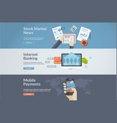 Flat design concepts for internet banking and news vector