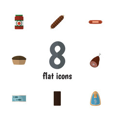 flat icon food set of tart meat smoked sausage vector image