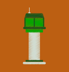 flat icon in shading style airport control tower vector image