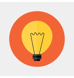 Flat orange lamp icon over red vector