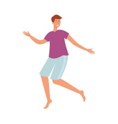 flat young man dancing at beach party vector image