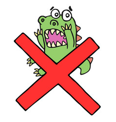 Funny frightened dinosaur and red cross mark vector
