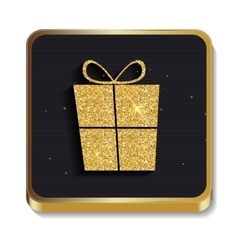 Gold Glitter Shiny Gift Box Icon Button with vector image