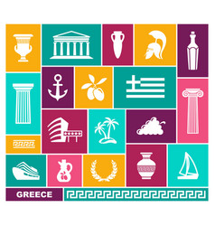 greece trhaditional symbols flat icons vector image