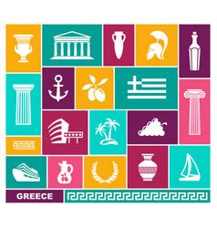 Greece trhaditional symbols flat icons vector