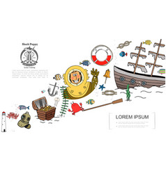 hand drawn marine elements concept vector image