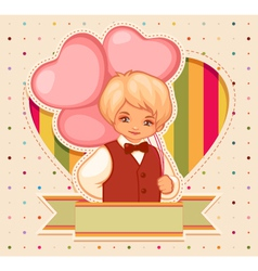 happy birthday card with boy and balloons vector image