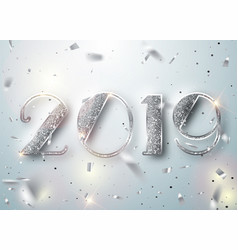 Happy new year 2019 greeting card with silver vector
