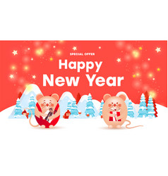 happy new year sale banner with cute rats or mice vector image