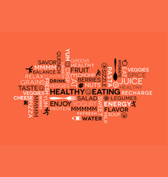 Healthy eating themed word cloud with icons vector