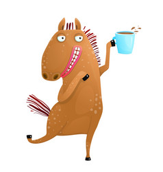horse holding cup of coffee vector image