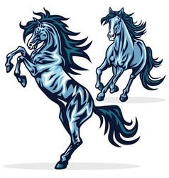 horse mustang running rearing sports mascot vector image