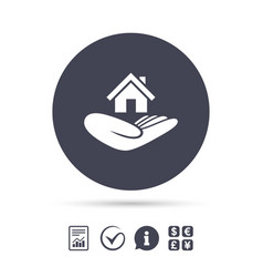 House insurance sign hand holds home symbol vector