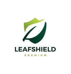 leaf shield logo icon vector image