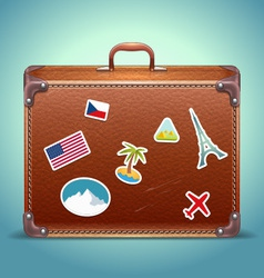 Leather Suitcase with Travel Sticker vector