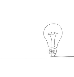 light bulb one line drawing on white background vector image