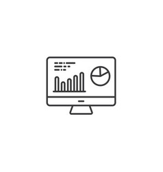 line analytics computer monitor icon on white vector image
