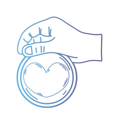 line hand with heart emblem to love and romantic vector image