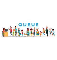long queue in food store banner concept vector image