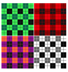 Lumberjack plaid pattern set vector