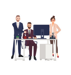 male managers working on computer at office vector image