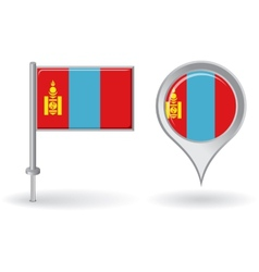 Mongolian pin icon and map pointer flag vector