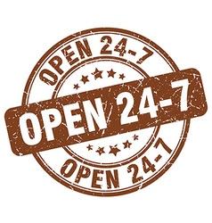 Open 24 7 brown grunge round vintage rubber stamp vector