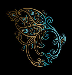 paisley ethnic ornament hand drawn vector image
