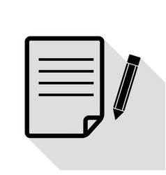 paper and pencil sign black icon with flat style vector image