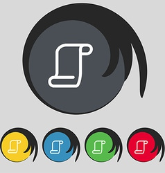 Paper scroll icon sign Symbol on five colored vector