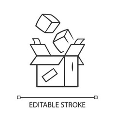 Parcel packing linear icon thin line order vector