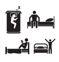Person in bed icons Hotel sleep signs vector