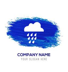 Rain cloud icon - blue watercolor background vector