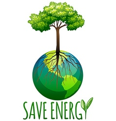 Save energy theme with earth and tree vector image