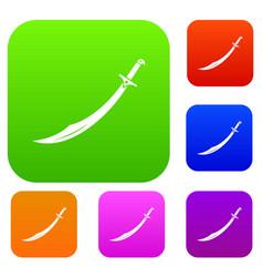 scimitar sword set color collection vector image