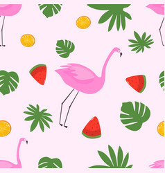 seamless pattern flamingo with leaves and vector image