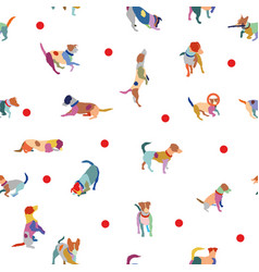 seamless pattern with colorful terrier dogs vector image