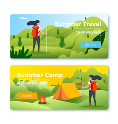 set banners with girl hiking outdoors vector image