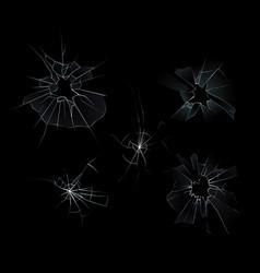 set broken glass vector image
