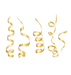 Set gold curly ribbon serpentine isolated on vector