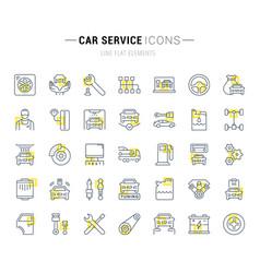 Set line icons car service vector