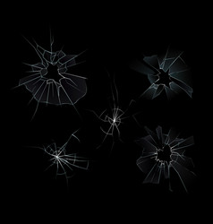 set of broken glass set with vector image