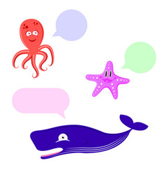 Set of cute animals whale octopus starfish vector