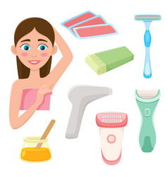 set of flat style hair removal depilation tools vector image