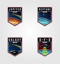 Set space landscape planet logo premium vector