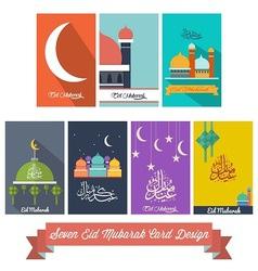 Seven eid mubarak flat design card vector