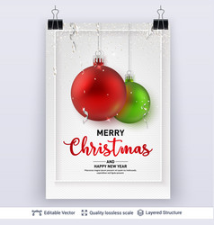 shiny christmas balls and text on light background vector image