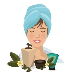 spa woman towel products facial body care vector image