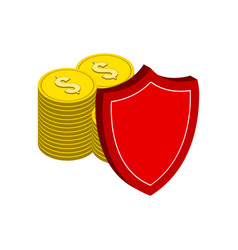 Stack of gold coins with shield finance vector